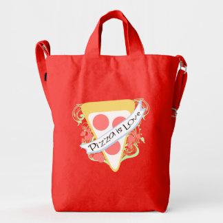 La pizza es amor bolsa de lona duck