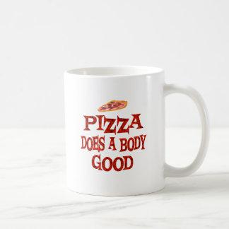La pizza hace bueno taza básica blanca