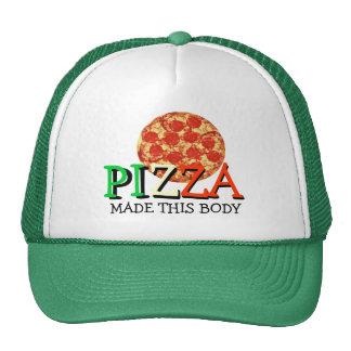 La pizza hizo este cuerpo cita divertida gorros bordados