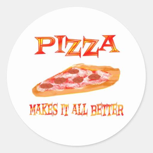 La pizza lo hace mejor etiquetas redondas