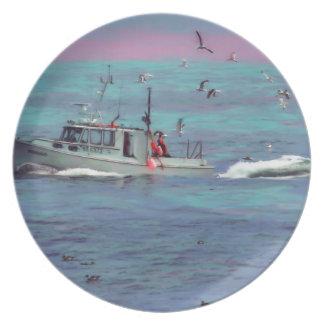 La placa de colector de los pájaros del barco de p plato para fiesta