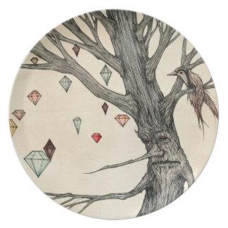 La placa de la melamina del árbol de la joya plato de comida