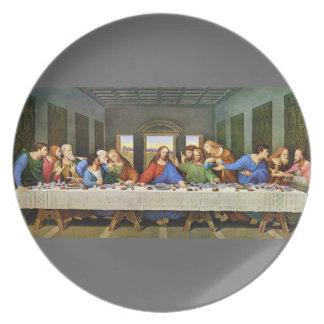 La placa de la última cena plato de cena