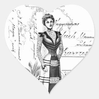 La placa de moda del Victorian Pegatina En Forma De Corazón