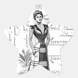 La placa de moda del Victorian Pegatina En Forma De Estrella