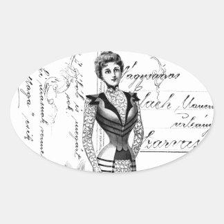 La placa de moda del Victorian Pegatina Ovalada