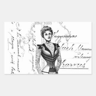 La placa de moda del Victorian Pegatina Rectangular