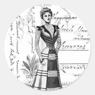 La placa de moda del Victorian Pegatina Redonda