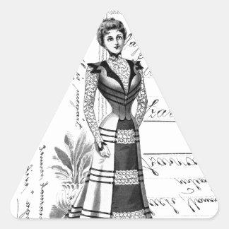 La placa de moda del Victorian Pegatina Triangular