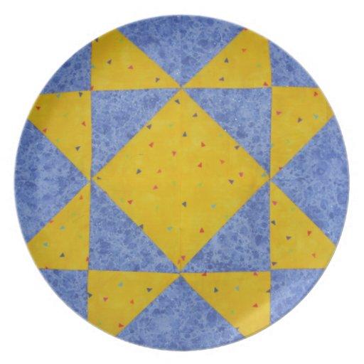 La placa de Quilter de la estrella azul Plato Para Fiesta