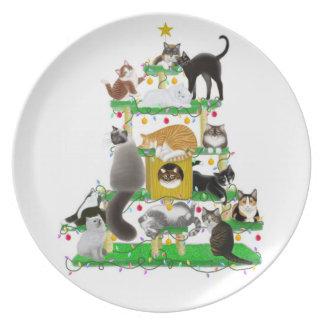 La placa del árbol del gato del navidad platos