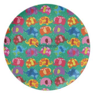 la placa del elefante del baile personaliza platos