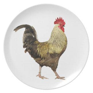 La placa del gallo platos de comidas