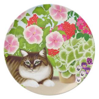 La placa del gato de selva del jardín del patio plato de cena
