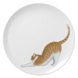 La placa del gato de Tabby que estira Platos De Comidas