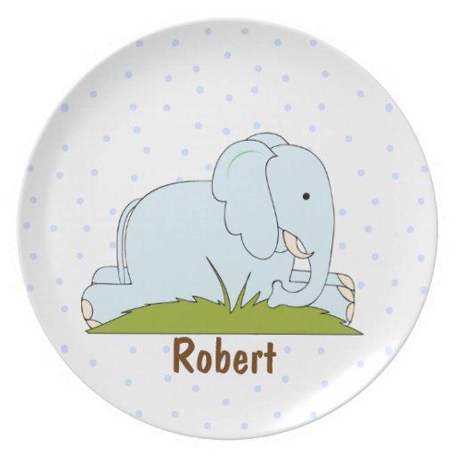 La placa del niño del elefante del lunar plato de comida