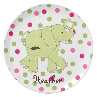La placa del niño del elefante del lunar plato para fiesta