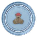 La placa del niño del oso de peluche platos para fiestas