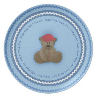La placa del niño del oso de peluche plato para fiesta
