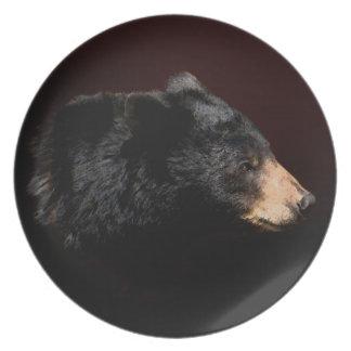 La placa del oso negro del arte de los Naturaleza- Platos Para Fiestas