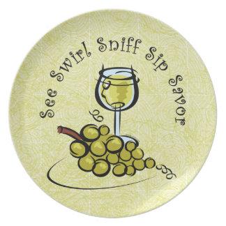La placa del s del vino blanco 5 platos para fiestas