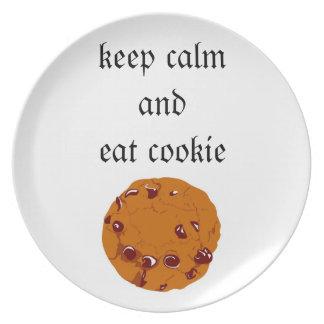 la placa, galleta, guarda calma y come la galleta plato