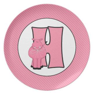 """La placa """"H"""" del niño con monograma del hipopótamo Plato"""