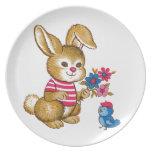 La placa linda del niño del conejito y del Bluebir Plato Para Fiesta