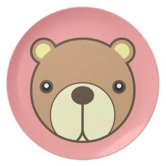 La placa más estimada del bebé del oso platos de comidas