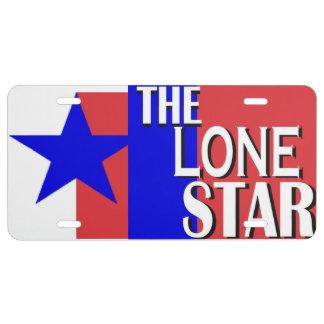 La placa solitaria de Tejas de la estrella Placa De Matrícula