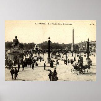 La Place de la Concorde Paris Vintage c1910 print