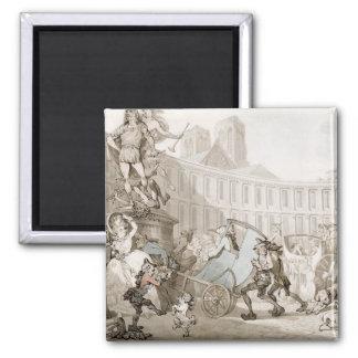 La Place des Victoires, Paris, c.1789 (pen and ink 2 Inch Square Magnet