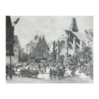 La Place Saint-Médard Paris by Gustave Fraipont Canvas Print