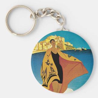 La Plage de Calvi, Corse Basic Round Button Keychain