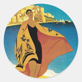 La Plage de Calvi, Corse Classic Round Sticker
