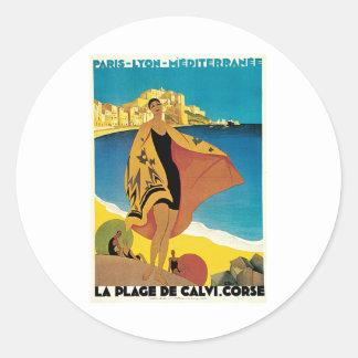 La Plage De Calvi Corse France Classic Round Sticker