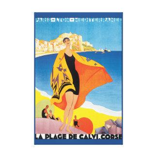 La Plage de Calvi Corse Vintage Travel Poster Canvas Print