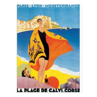 La Plage de Calvi Corse Vintage Travel Poster Postcard