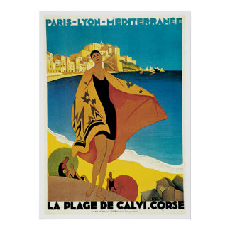La Plage de Calvi, France vintage travel poster