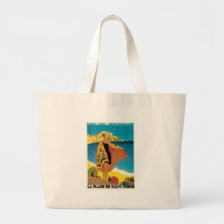 La Plage de Calvi, France vintage travel poster Large Tote Bag