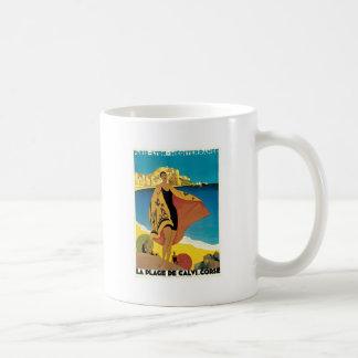 La Plage de Calvi, France vintage travel poster Classic White Coffee Mug