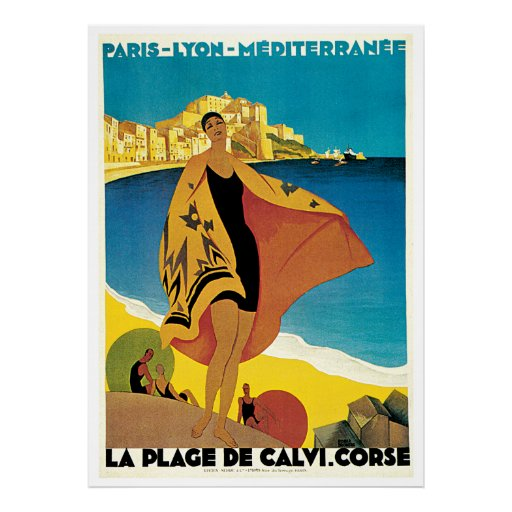 La Plage De Calvi French Rivera Vintage Travel Poster