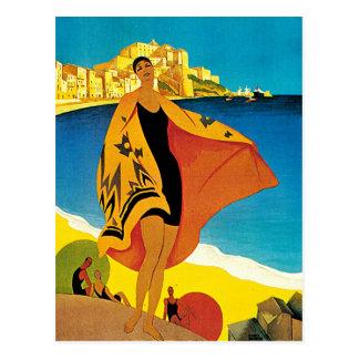 La Plage de Calvi Vintage France Travel Art Postcard