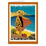 """"""" La Plage de Calvi"""" Vintage Travel Poster Cards"""