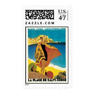 La Plage De Calvi Vintage Travel Poster Postage