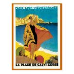 """"""" La Plage de Calvi"""" Vintage Travel Poster Post Cards"""