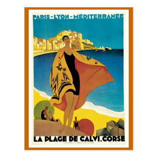 """ La Plage de Calvi"" Vintage Travel Poster Postcard"