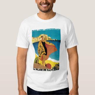 La Plage De Calvi Vintage Travel Poster T Shirt