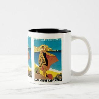 """ La Plage de Calvi"" Vintage Travel Poster Two-Tone Coffee Mug"