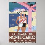 La Plage de Monte Carlo Beach Vintage Travel Poste Poster